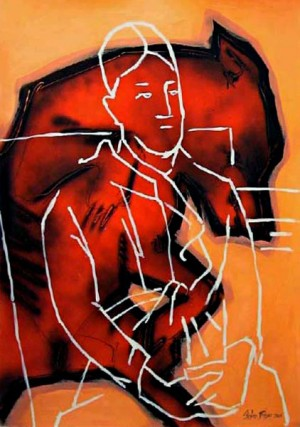 Madam Cézanne in a red-armchair 'DogFight'  1220mm x 860mm Spray paint, acrylic, on paper.