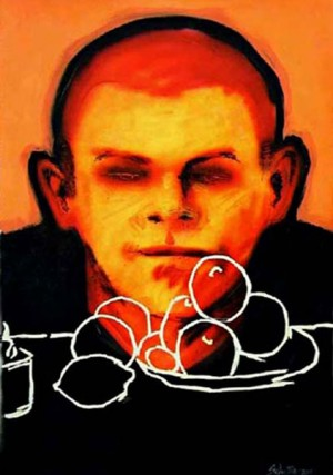 'Still life with apples' 'DogFight'  1220mm x 860mm Spray paint, acrylic, on paper.