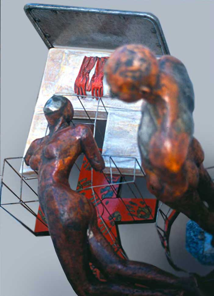'Abhor' 1900mm x 1400mm x 2250mm Fiberglass with polyester resin as the plastic matrix, mild steel and polyurethane paint