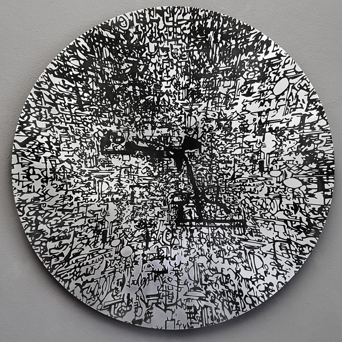 'into the light fantastic' 580mm diameter, acid etched on aluminium